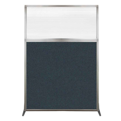 Hush Screen Portable Partition 4' x 6' Blue Spruce Fabric Clear Fluted Window Without Wheels