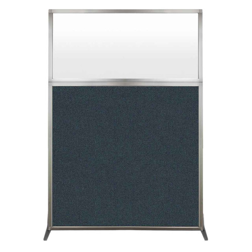 Hush Screen Portable Partition 4' x 6' Blue Spruce Fabric Frosted Window Without Wheels