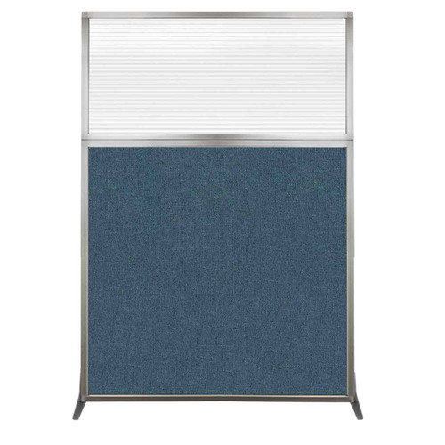 Hush Screen Portable Partition 4' x 6' Caribbean Fabric Clear Fluted Window Without Wheels