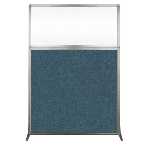 Hush Screen Portable Partition 4' x 6' Caribbean Fabric Clear Window Without Wheels