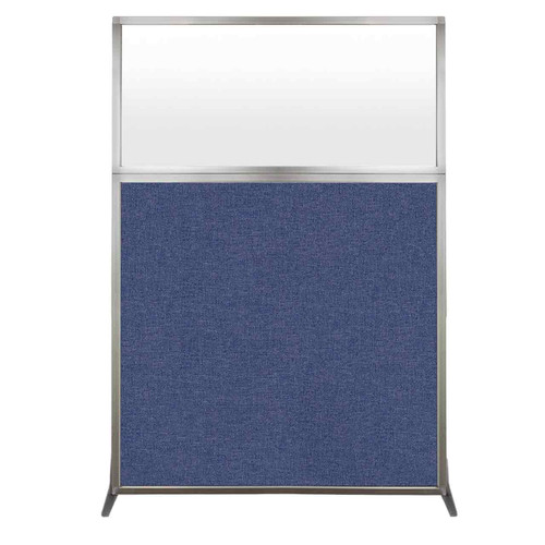 Hush Screen Portable Partition 4' x 6' Cerulean Fabric Frosted Window Without Wheels