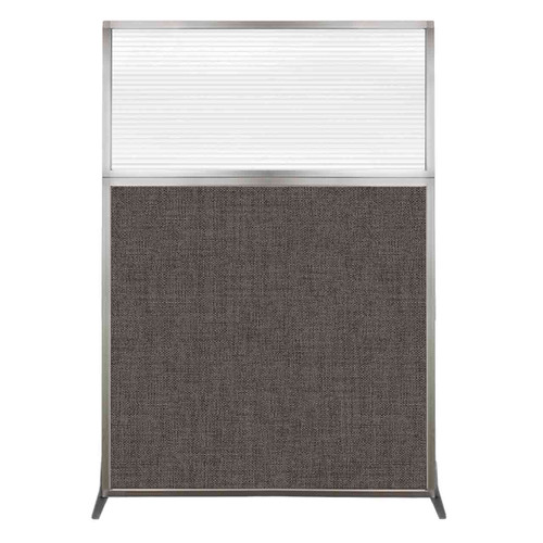 Hush Screen Portable Partition 4' x 6' Mocha Fabric Clear Fluted Window Without Wheels