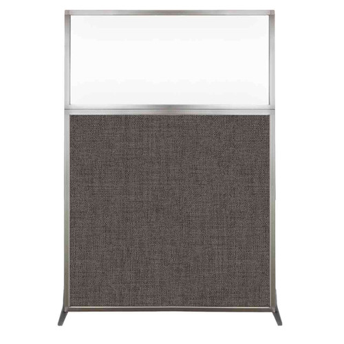 Hush Screen Portable Partition 4' x 6' Mocha Fabric Clear Window Without Wheels