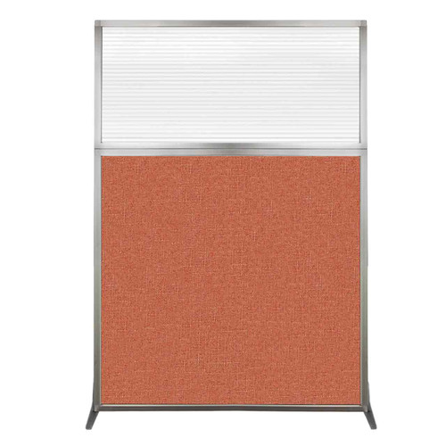 Hush Screen Portable Partition 4' x 6' Papaya Fabric Clear Fluted Window Without Wheels