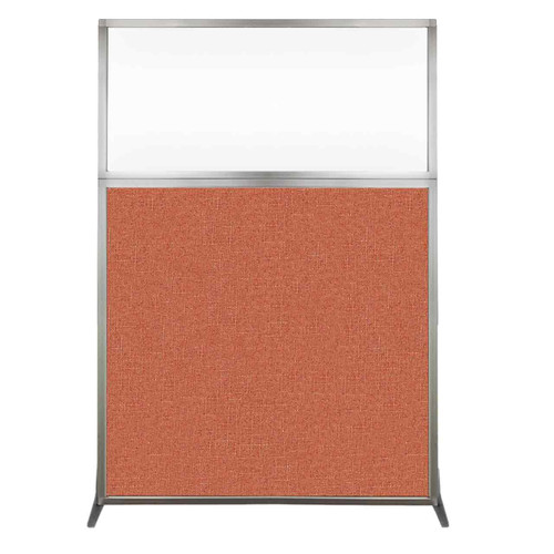 Hush Screen Portable Partition 4' x 6' Papaya Fabric Clear Window Without Wheels