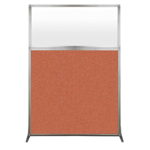 Hush Screen Portable Partition 4' x 6' Papaya Fabric Frosted Window Without Wheels