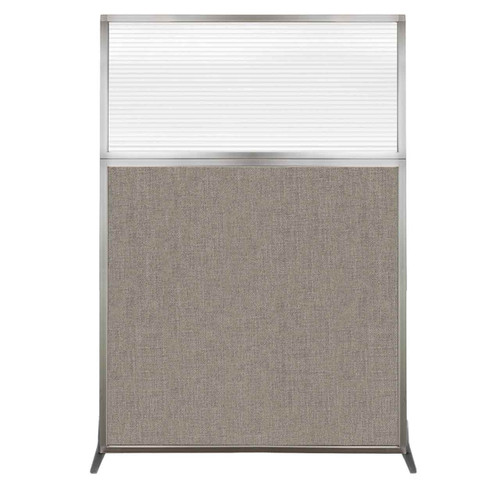 Hush Screen Portable Partition 4' x 6' Warm Pebble Fabric Clear Fluted Window Without Wheels