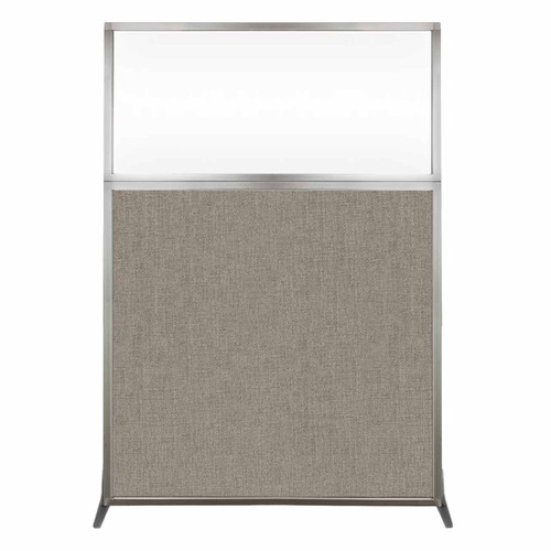 Hush Screen Portable Partition 4' x 6' Warm Pebble Fabric Clear Window Without Wheels