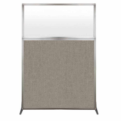 Hush Screen Portable Partition 4' x 6' Warm Pebble Fabric Frosted Window Without Wheels