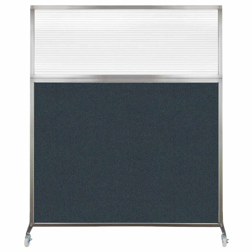 Hush Screen Portable Partition 5' x 6' Blue Spruce Fabric Clear Fluted Window With Wheels