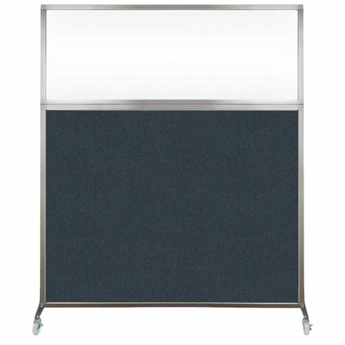 Hush Screen Portable Partition 5' x 6' Blue Spruce Fabric Clear Window With Wheels