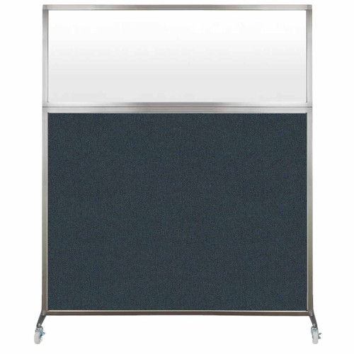 Hush Screen Portable Partition 5' x 6' Blue Spruce Fabric Frosted Window With Wheels
