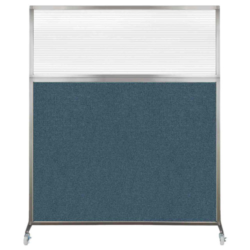 Hush Screen Portable Partition 5' x 6' Caribbean Fabric Clear Fluted Window With Wheels
