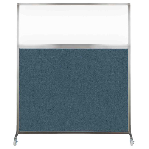 Hush Screen Portable Partition 5' x 6' Caribbean Fabric Clear Window With Wheels