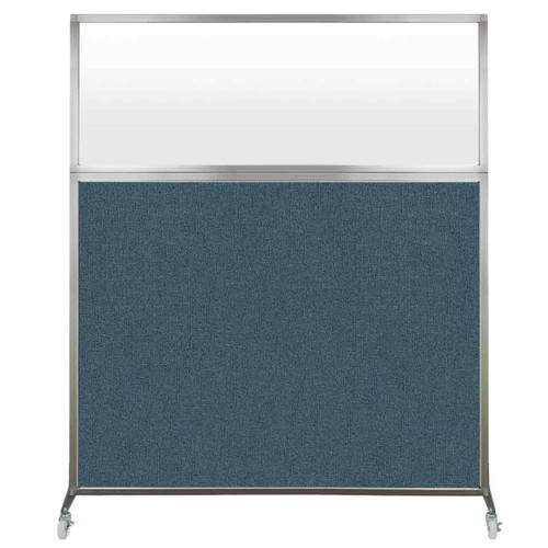 Hush Screen Portable Partition 5' x 6' Caribbean Fabric Frosted Window With Wheels
