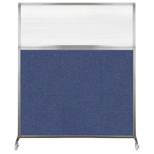 Hush Screen Portable Partition 5' x 6' Cerulean Fabric Clear Fluted Window With Wheels
