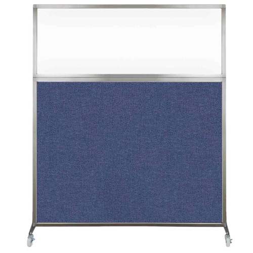 Hush Screen Portable Partition 5' x 6' Cerulean Fabric Clear Window With Wheels