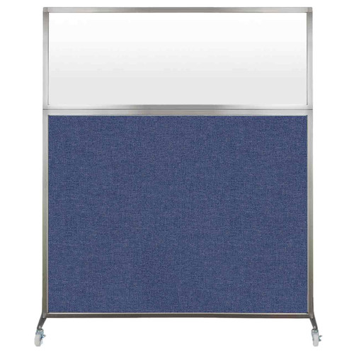 Hush Screen Portable Partition 5' x 6' Cerulean Fabric Frosted Window With Wheels