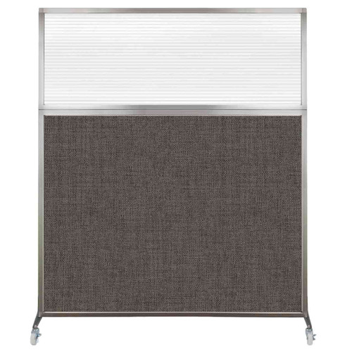 Hush Screen Portable Partition 5' x 6' Mocha Fabric Clear Fluted Window With Wheels