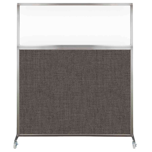 Hush Screen Portable Partition 5' x 6' Mocha Fabric Clear Window With Wheels