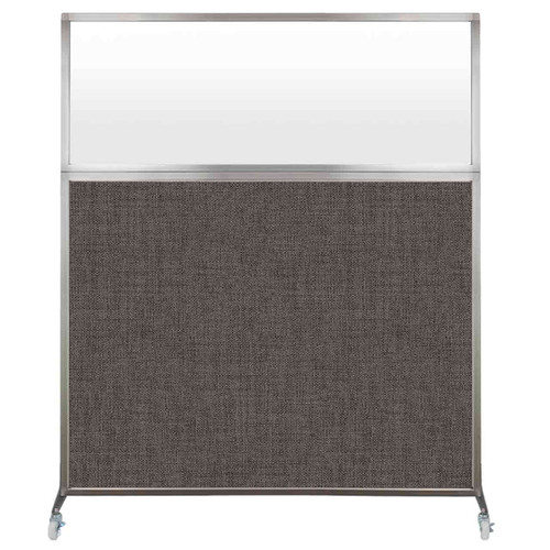 Hush Screen Portable Partition 5' x 6' Mocha Fabric Frosted Window With Wheels