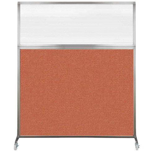 Hush Screen Portable Partition 5' x 6' Papaya Fabric Clear Fluted Window With Wheels