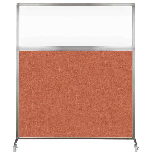 Hush Screen Portable Partition 5' x 6' Papaya Fabric Clear Window With Wheels