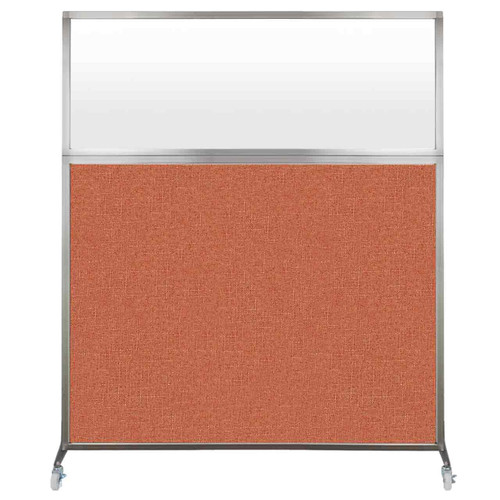 Hush Screen Portable Partition 5' x 6' Papaya Fabric Frosted Window With Wheels