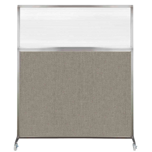 Hush Screen Portable Partition 5' x 6' Warm Pebble Fabric Clear Fluted Window With Wheels