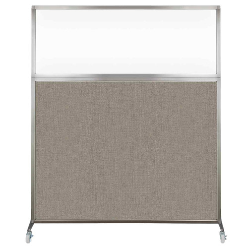 Hush Screen Portable Partition 5' x 6' Warm Pebble Fabric Clear Window With Wheels