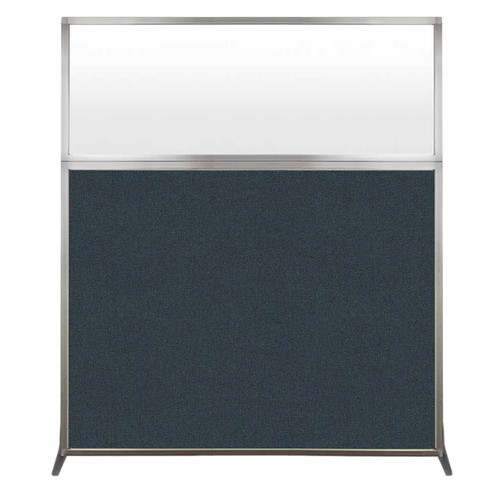 Hush Screen Portable Partition 5' x 6' Blue Spruce Fabric Frosted Window Without Wheels
