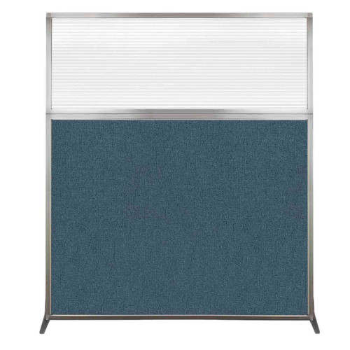 Hush Screen Portable Partition 5' x 6' Caribbean Fabric Clear Fluted Window Without Wheels