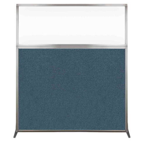 Hush Screen Portable Partition 5' x 6' Caribbean Fabric Clear Window Without Wheels