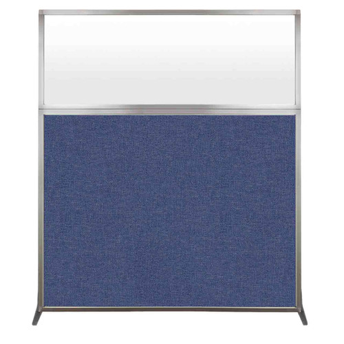 Hush Screen Portable Partition 5' x 6' Cerulean Fabric Frosted Window Without Wheels