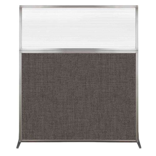 Hush Screen Portable Partition 5' x 6' Mocha Fabric Clear Fluted Window Without Wheels