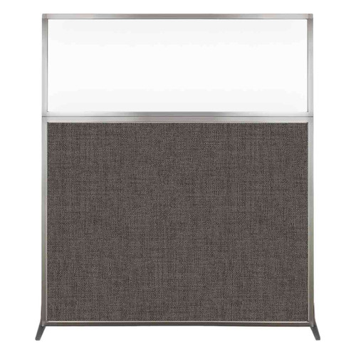Hush Screen Portable Partition 5' x 6' Mocha Fabric Clear Window Without Wheels
