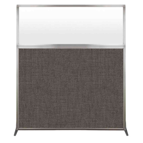 Hush Screen Portable Partition 5' x 6' Mocha Fabric Frosted Window Without Wheels