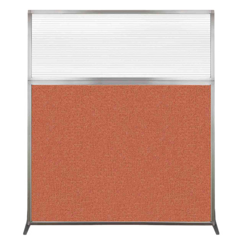 Hush Screen Portable Partition 5' x 6' Papaya Fabric Clear Fluted Window Without Wheels
