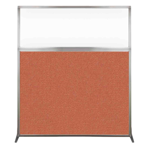 Hush Screen Portable Partition 5' x 6' Papaya Fabric Clear Window Without Wheels