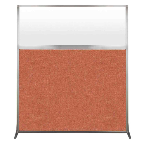 Hush Screen Portable Partition 5' x 6' Papaya Fabric Frosted Window Without Wheels