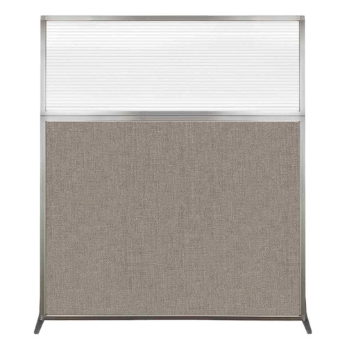 Hush Screen Portable Partition 5' x 6' Warm Pebble Fabric Clear Fluted Window Without Wheels