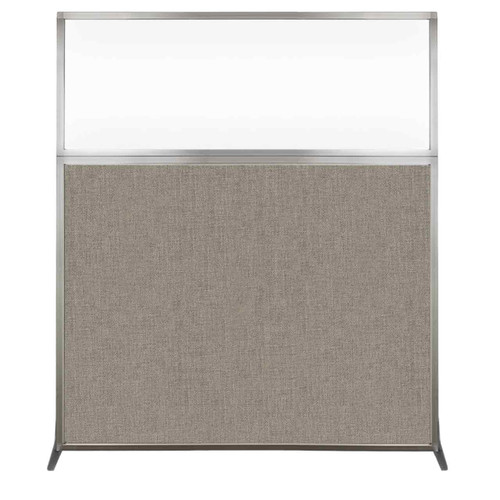 Hush Screen Portable Partition 5' x 6' Warm Pebble Fabric Clear Window Without Wheels