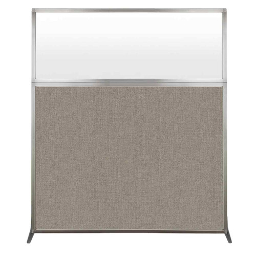 Hush Screen Portable Partition 5' x 6' Warm Pebble Fabric Frosted Window Without Wheels