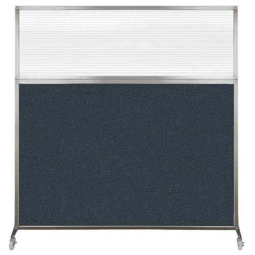 Hush Screen Portable Partition 6' x 6' Blue Spruce Fabric Clear Fluted Window With Wheels