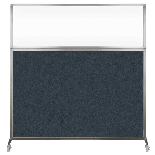Hush Screen Portable Partition 6' x 6' Blue Spruce Fabric Clear Window With Wheels