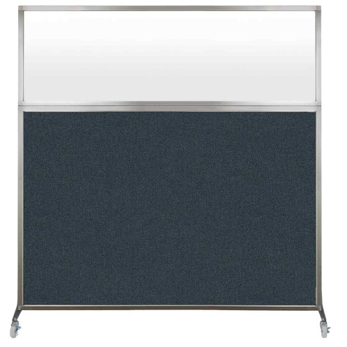 Hush Screen Portable Partition 6' x 6' Blue Spruce Fabric Frosted Window With Wheels