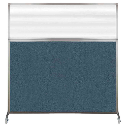 Hush Screen Portable Partition 6' x 6' Caribbean Fabric Clear Fluted Window With Wheels