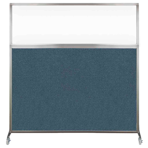 Hush Screen Portable Partition 6' x 6' Caribbean Fabric Clear Window With Wheels