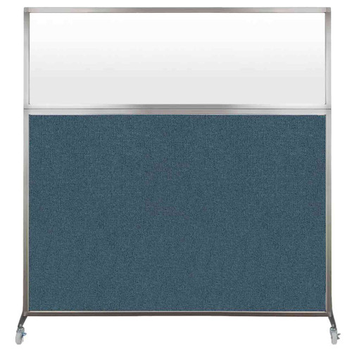 Hush Screen Portable Partition 6' x 6' Caribbean Fabric Frosted Window With Wheels