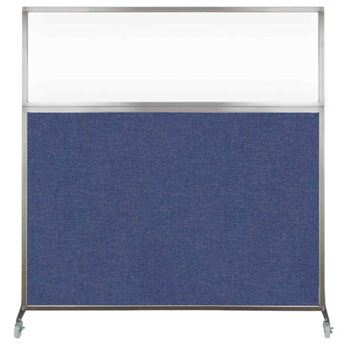 Hush Screen Portable Partition 6' x 6' Cerulean Fabric Clear Window With Wheels